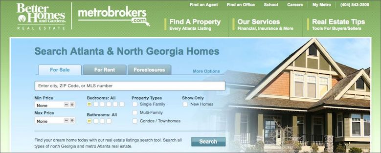Screen shot of the BHGRE MetroBrokers.com homepage with link to agent Metronet login page.