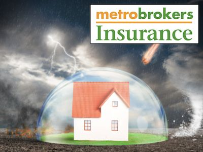 A house in a bubble with the Metro Brokers Insurance logo.