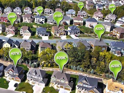 A large neighborhood of houses with home value estimate bubbles.