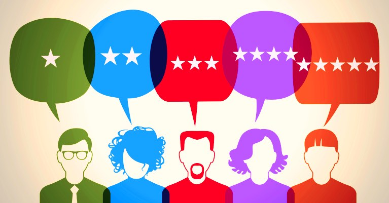 People with speech bubbles containing stars for online reviews.