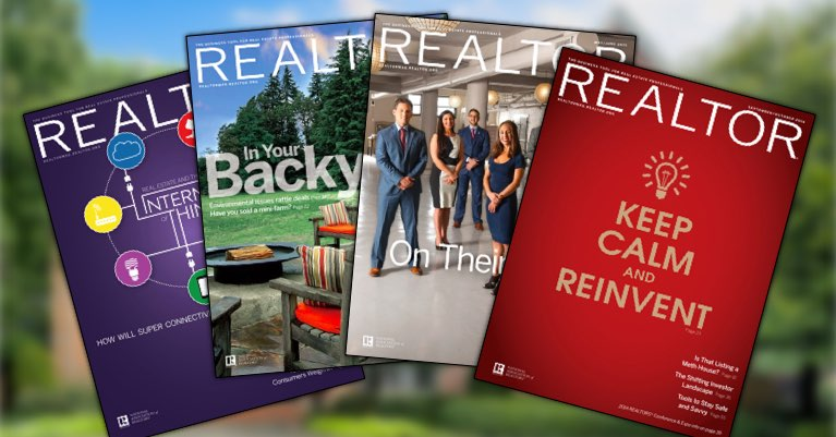 Four issues of Realtor Magazine in front of a luxury home.