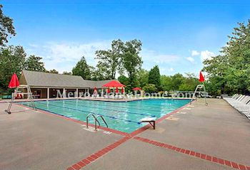The neighborhood swimming pool and clubhouse at Redfield in Dunwoody, GA.