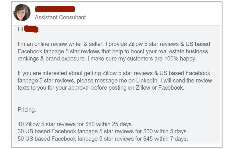A LinkedIn message from a person offering to write reviews for money.