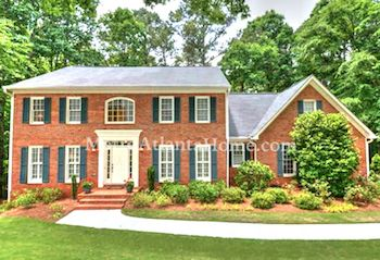 A traditional style brick home in Lilburn's Rivermist subdivision.