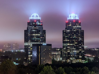 The King & Queen buildings in the heart of Sandy Springs.