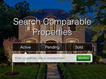 A website homepage with an active, pending and sold comparable property search box.