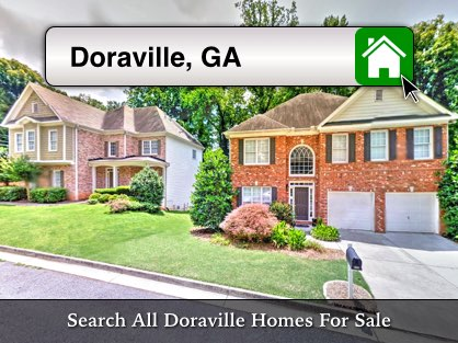 Homes in a Doraville neighborhood with a property search box.