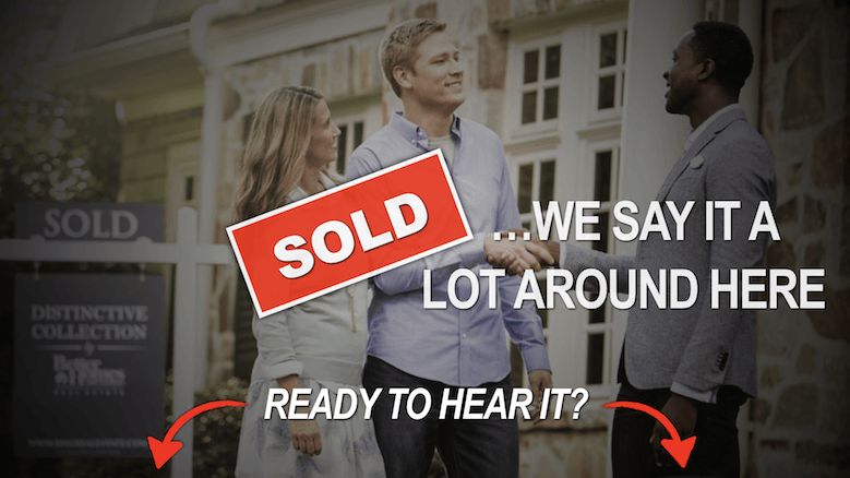 Sellers with their real estate agent in front of their sold home.