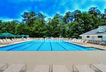 The neighborhood pool & amenities at Seven Oaks in Johns Creek.