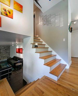 A half staircase providing access to multiple levels in a split-level home.