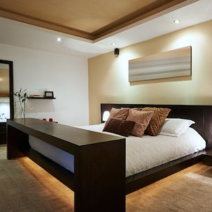 Master bedroom with mood lighting to create a relaxing ambiance.