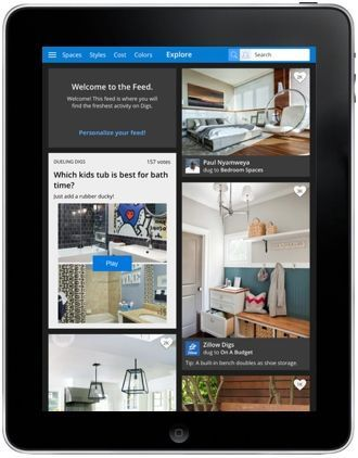 iPad with Zillow Digs app with interior design photos and tips.