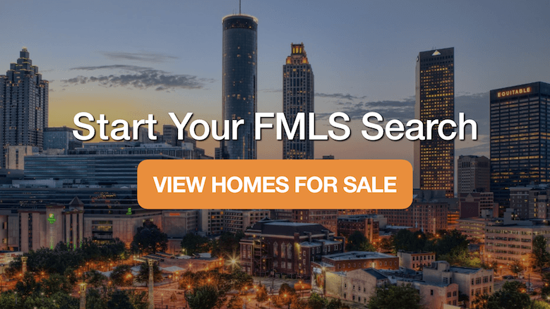 A view of the downtown Atlanta skyline with a home search box.