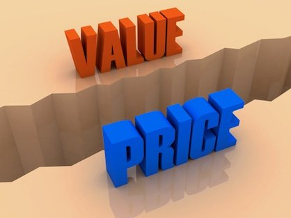Illustration of the words value and price with split between them.