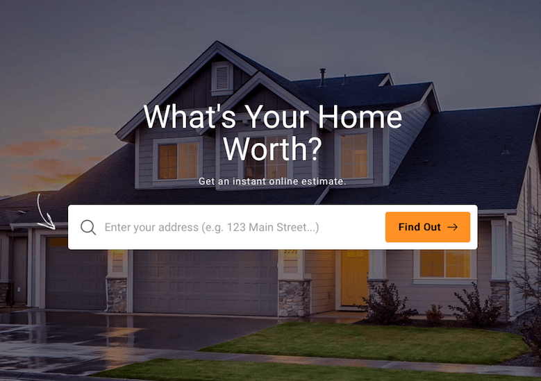 Home value estimator tool with search box.