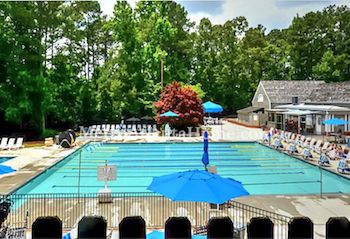 The neighborhood pool and community amenities at Windward in Alpharetta, GA.
