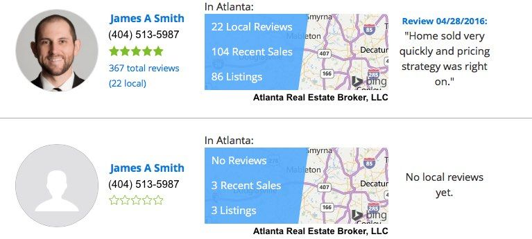 A side-by-side comparison of two agents profiles with reviews on Zillow.