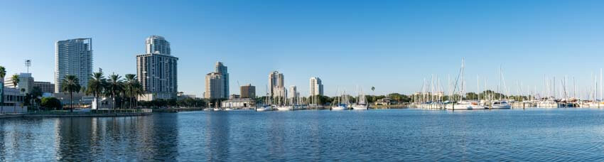 Downtown St Petersburg Condos Viewed from Albert Whitted Park
