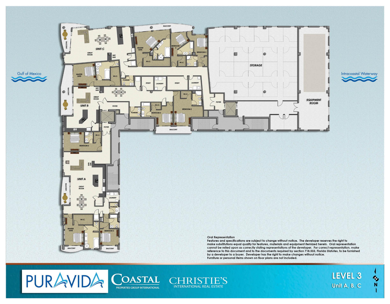 Pura Vida Floor Plans Level 3 Unit ABC