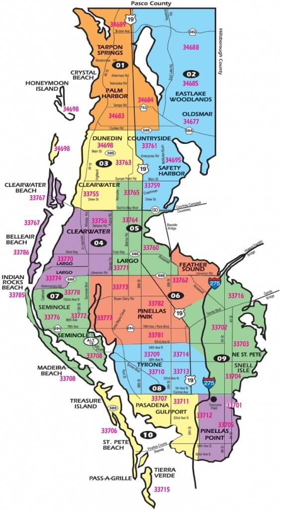 Zip Code Map of Pinellas