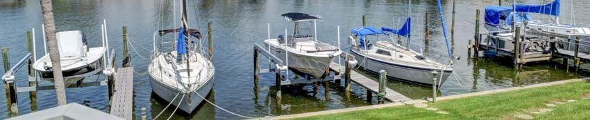 Boat Docks at Bay Island Condos South Pasadena Florida