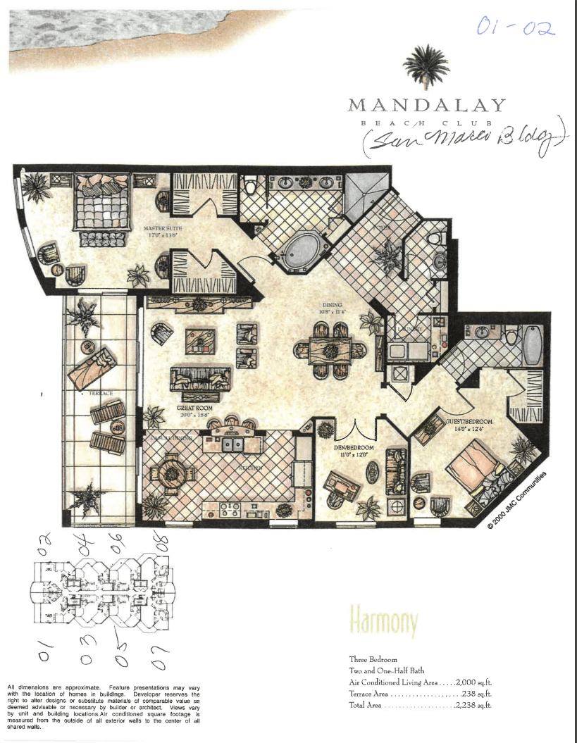 Mandalay Beach Club San Marco Unit 01 Floor Plan