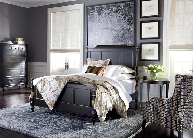 Grey bed in a large grey bedroom - Coldwell Banker Paradise