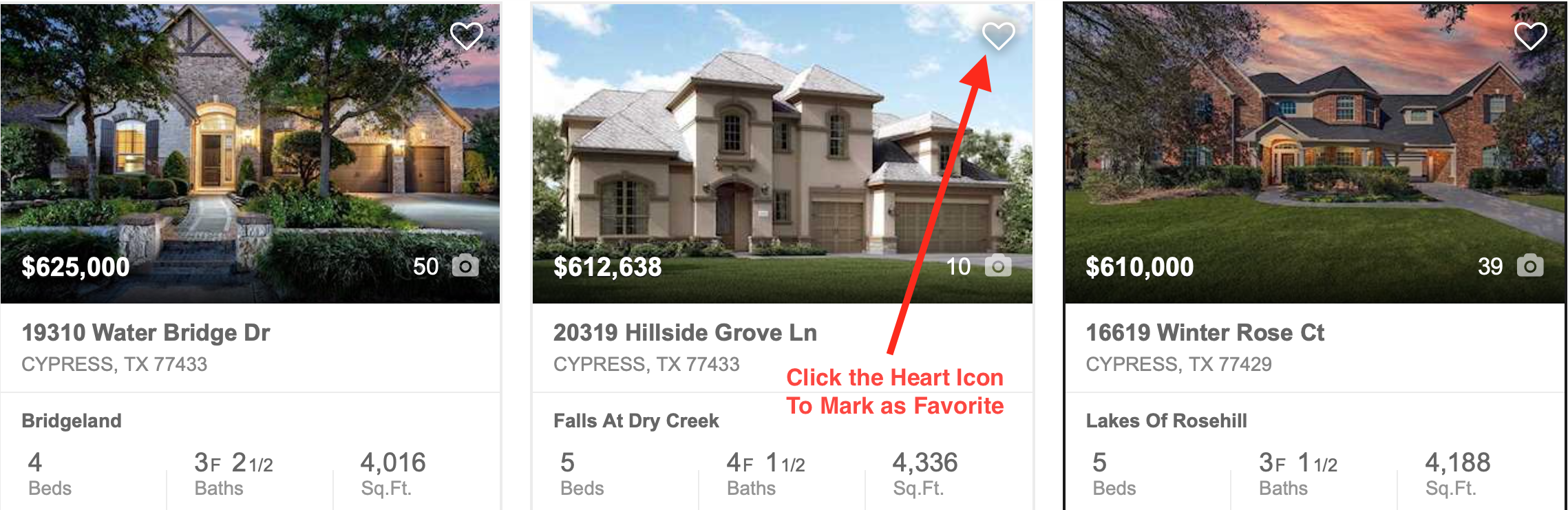 Click on the Heart Icon to mark homes as Favorites