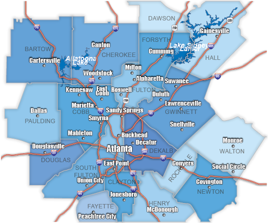 Map of Atlanta Including Cities and Counties