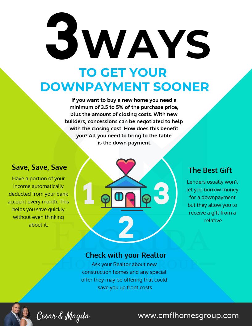 3 Ways to Get your down payment sooner