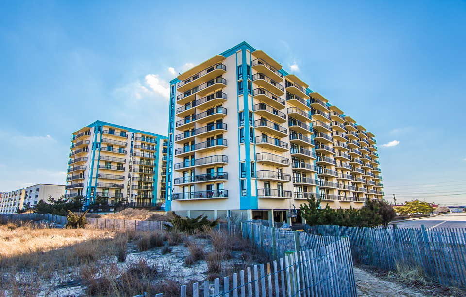 View of Braemar Towers in Ocean City, MD from the beach