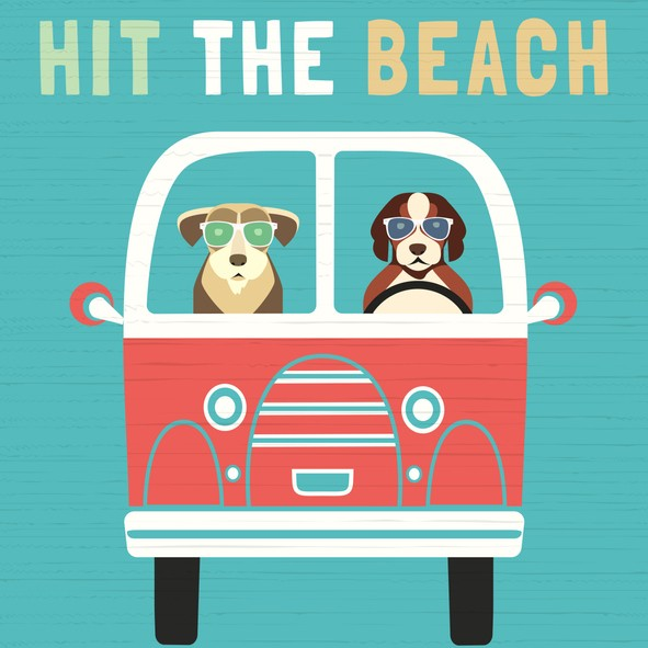 Cartoon two dogs driving a bus to the beach