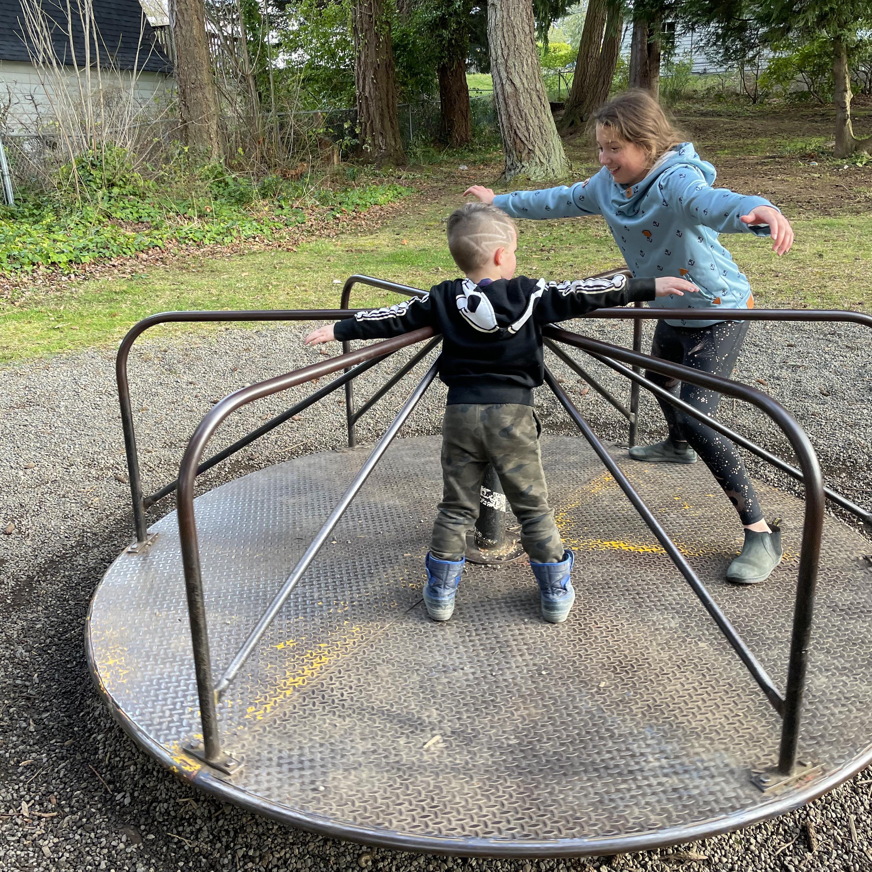 Griffin & Ella having a blast at Huddlestone Park