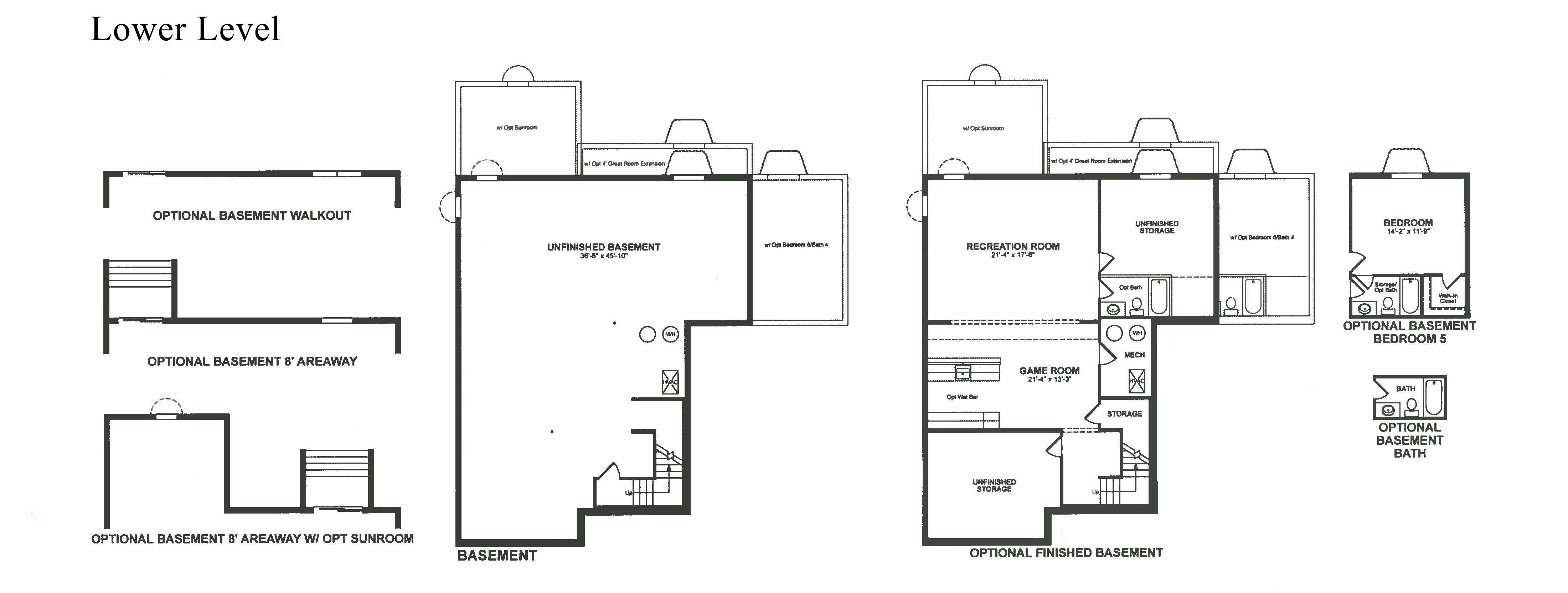 Willowsford Winslow Model Floor Plan Lower Level