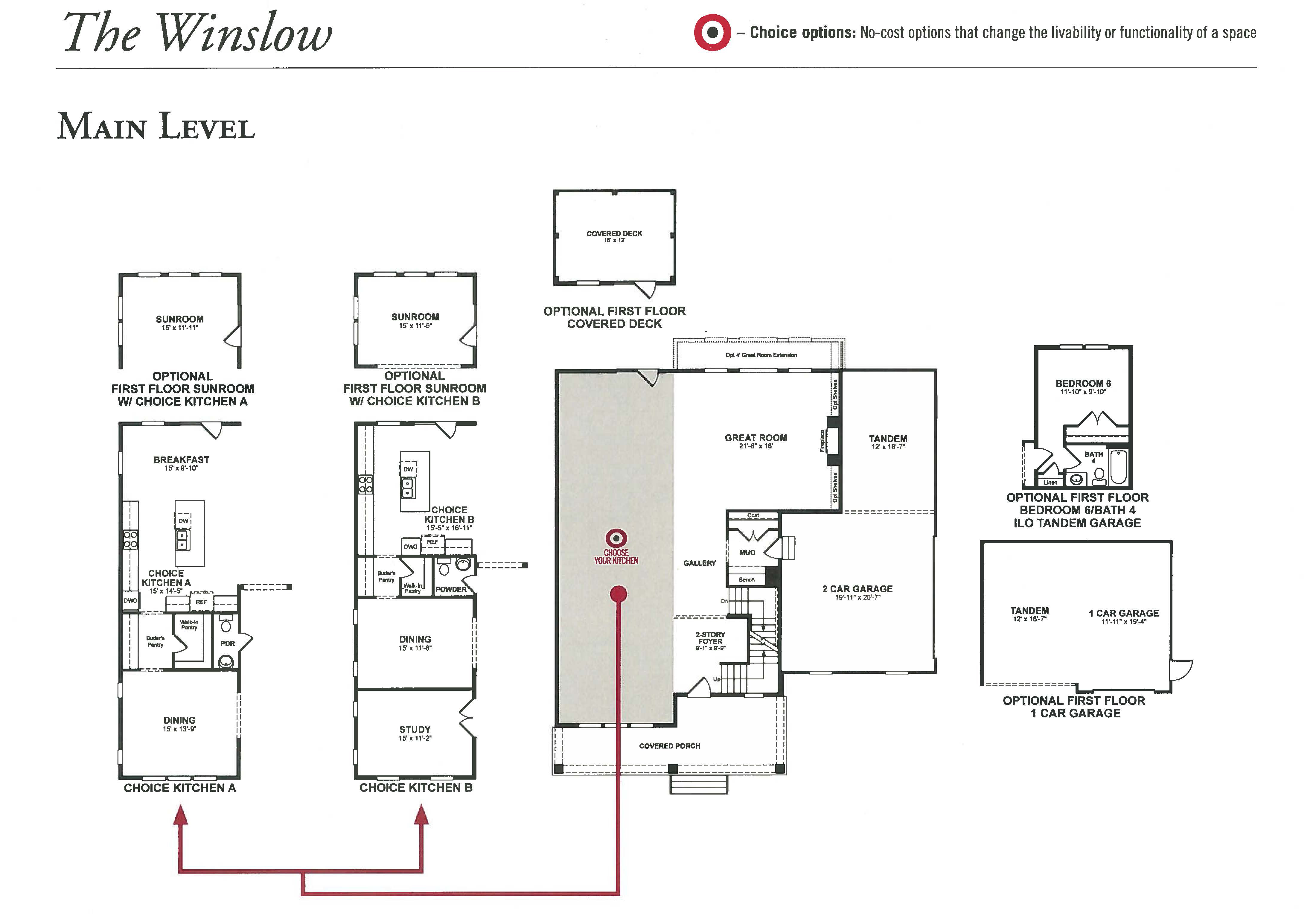 Willowsford Winslow Model Floor Plan Main Level