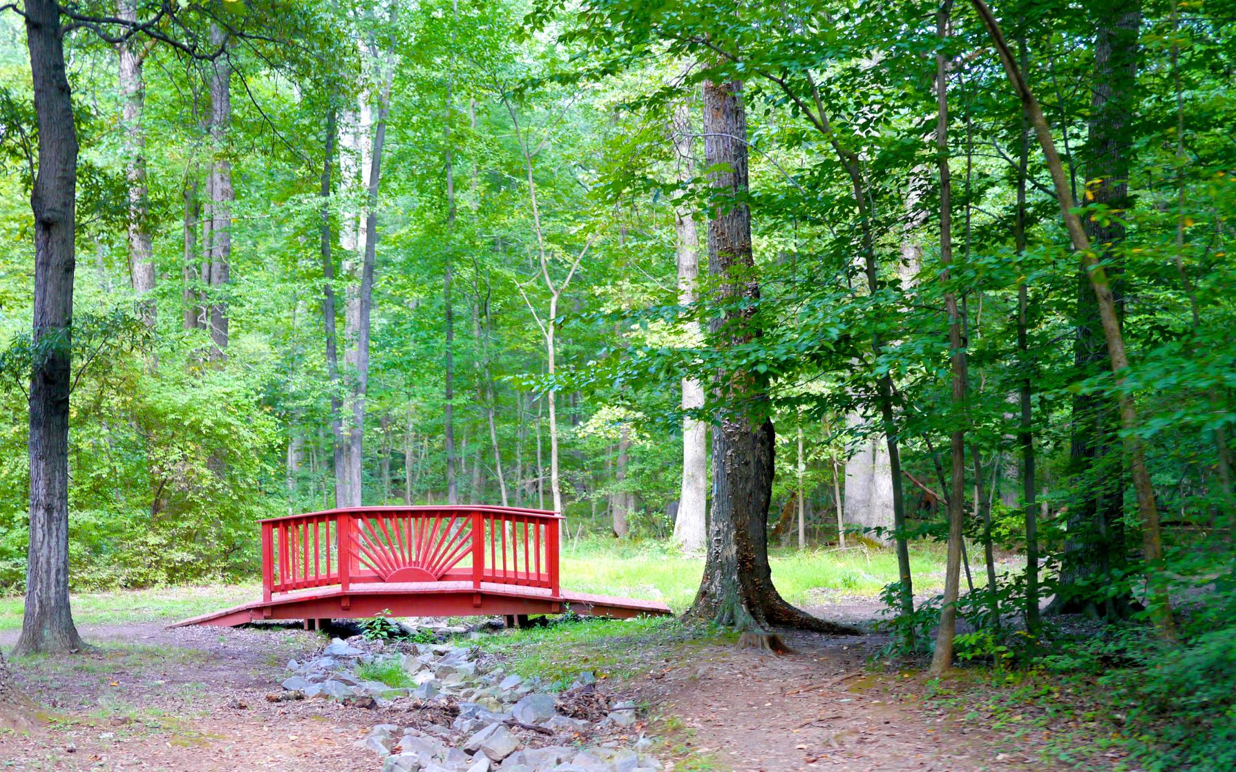 Red Wooden Bridge in Bull Run Regional Park, Centreville, Virginia