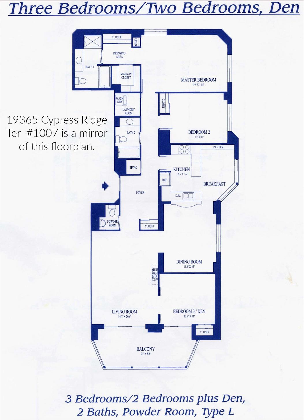 19365 Cypress Ridge Ter #1007, Lansdowne Woods- Floor Plan 1