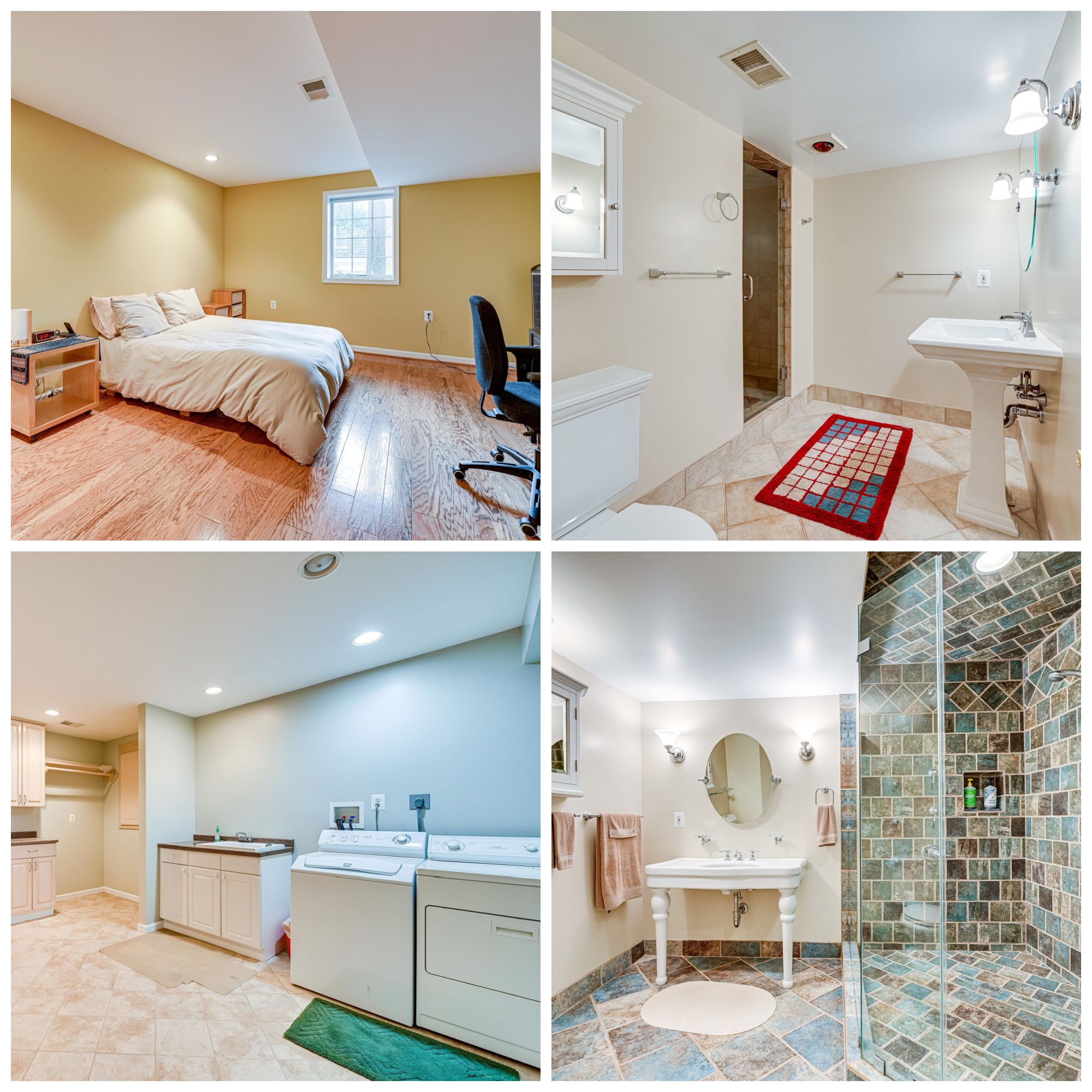 9220 Hidden Creek Dr, Great Falls- Lower Level Bedroom, Bathrooms, and Laundry