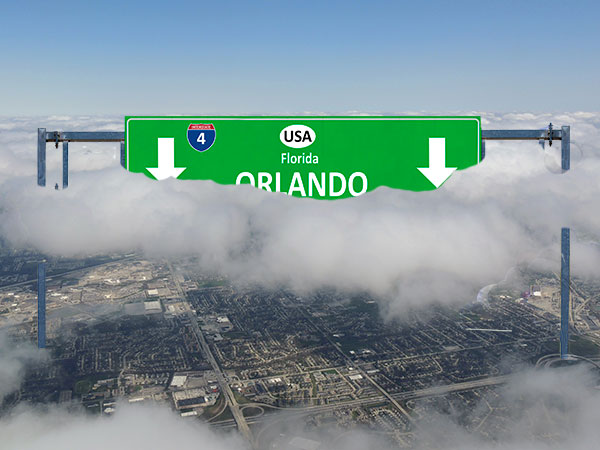 Orlando Sign in the Clouds