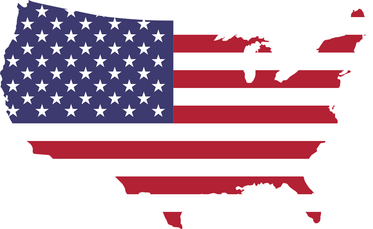 American Flag in Shape of United States