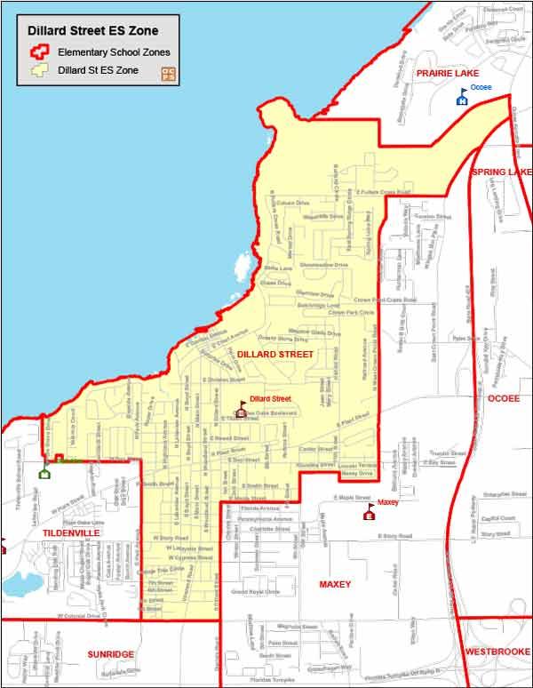 OCPS Dillard Street Elementary Map