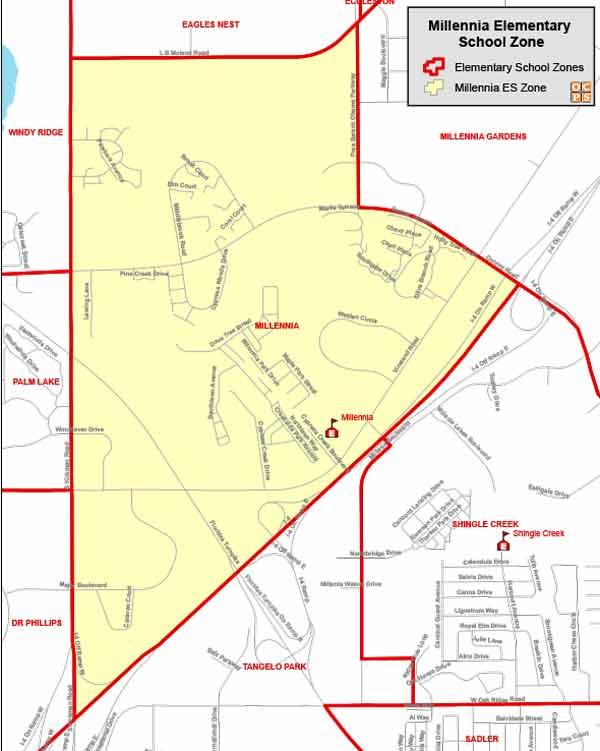 OCPS Millennia Elementary Map