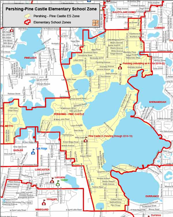 OCPS Pershing-Pine Castle Elementary Map