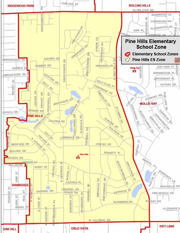 OCPS Pine Hills Elementary Map