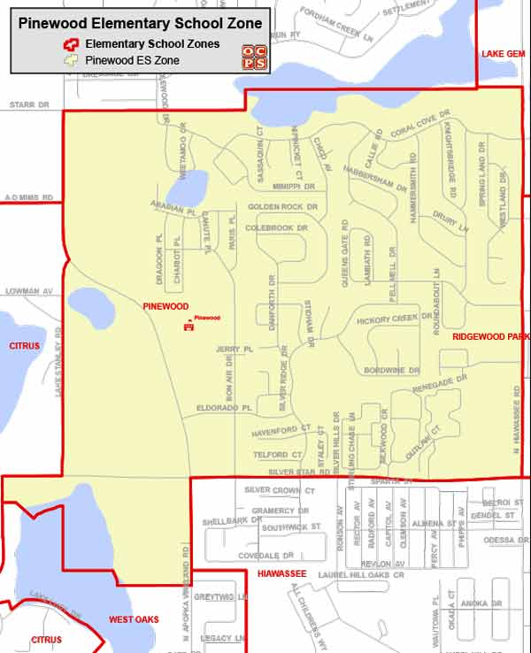 OCPS Pinewood Elementary Map