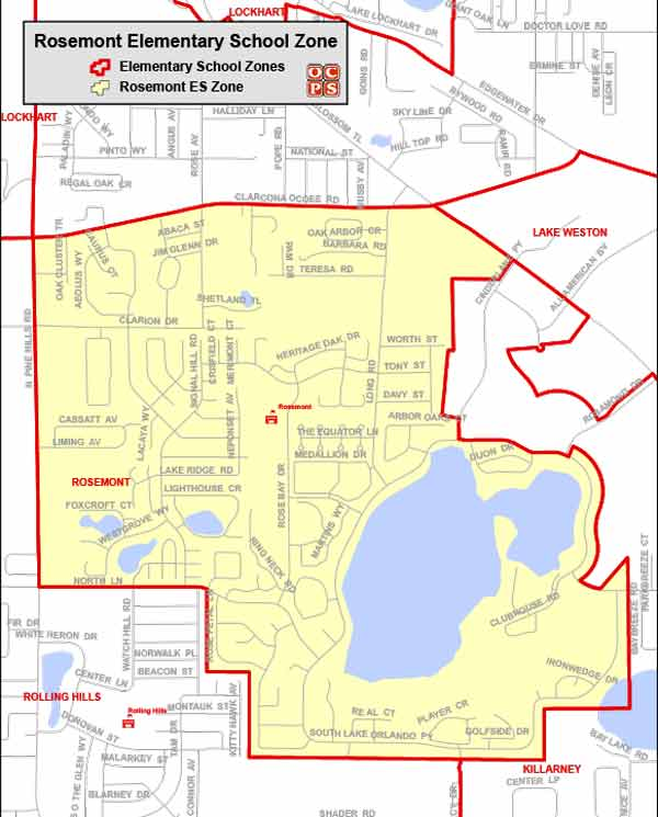 OCPS Rosemont Elementary Map