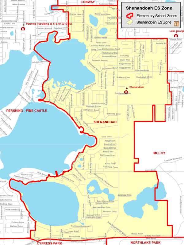 OCPS Shenandoah Elementary Map
