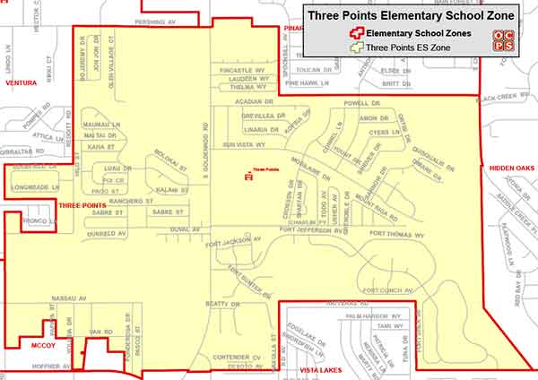 OCPS Three Points Elementary Map