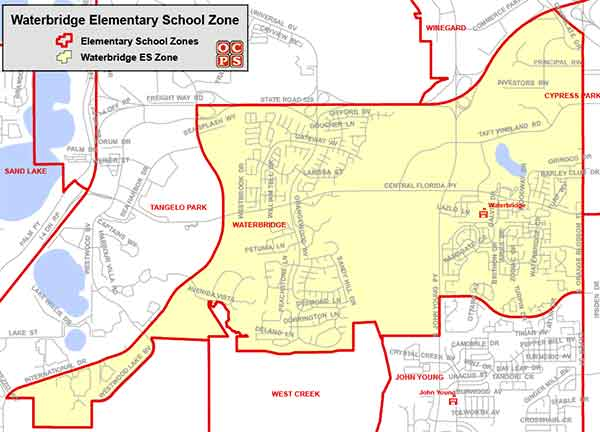 OCPS Waterbridge Elementary Map