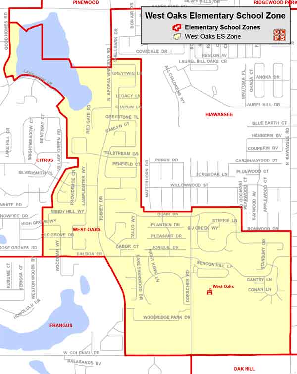 OCPS West Oaks Elementary Map